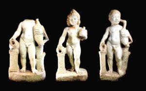Las tres esculturas romanas de la villa de Los Cantos de Bullas recuperadas por la Guardia Civil. / CARM